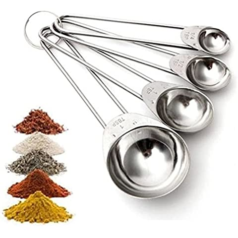 4en 1juego de tazas medidoras de acero inoxidable cucharas para hornear herramienta 1,25/2,5/5/ML, en caja