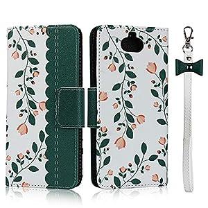 FAWUMAN Hülle für Sony Xperia Mit Schlüsselband, Premium PU Klapphülle Brieftasche Kartenfächer Handyhülle Stylish Blume Flip Case mit Standfunktion und Magnetverschluss Schutzhülle Passt