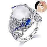 joizo Anillo de Cristal 1pc Arco Exquisito-Moon Luna Anillo de Piedra Oval Azul del Nuevo diseño Anillos de la aleación de la Flor Anillos Talladora Classic (diámetro: 0,74 Pulgadas)