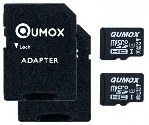 QUMOX Speicherkarte MicroSDHC 32GB UHS-I Grade 1 Class 10 mit SD Adapter, 2 Stück