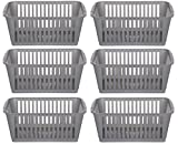 25cm Silver Plastic Handy Basket Storage Basket - Set Of 6