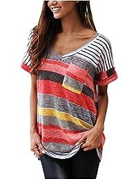 Jardin Rêvé T-shirt Femme Eté Manches Courtes Rayures Multicolore Col-V Top Blouse