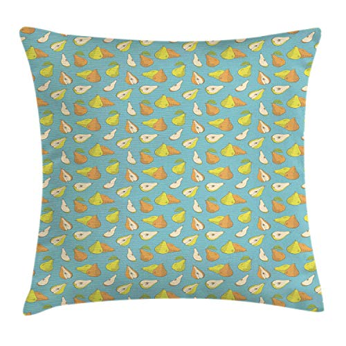 Pear Throw Pillow Cushion Cover, Colorful Sketchy Drawn Whole Fruit and Slices Vegan Meal, Decorative Square Accent Pillow Case, Pale Teal Apricot and Pale Avocado Green,26 X 26 Inches -