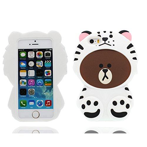 3D Cartoon citofono interphone ) iPhone 5 Custodia, iPhone 5s SE 5C 5G copertura Survivor Protective case / Cartoon Morbido Flessibile TPU Cover Shell Scivolamento di polvere bianca