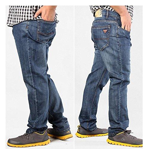 Xinmingyue Men's Blue Denim Plus Size Loose Fat Jean Pants Size36-52 Casual Long Trouser Blue