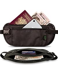 CampTeck Cinturón para Dinero con Protección RFID Cinturón de Viaje para Efectivo, Pasaporte, Tarjetas, Móvil, etc – Negro