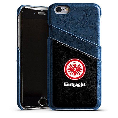 Apple iPhone 7 Lederhülle Leder Case Leder Handyhülle Weihnachtsgeschenk für Papa Vater Männer Eintracht Frankfurt Fanartikel Fußball Wappen Leder Case Navyblau