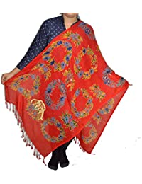 Sanvitta's Floral Rosary Print Light Weight Viscose Women's Stole RED
