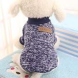 Idepet maglioni maglione, cane gatto animale domestico caldo cane gatto vestiti, PET, in pile, per cucciolo piccolo medio grande cane, blu / grigio, M