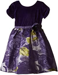 Us Angels Little Girls' Dress Floral Brocade Skirt with Velvet Bodice