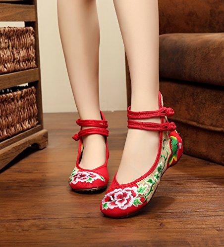 DESY pattini ricamati, biancheria, unico tendine, stile etnico, scarpe femminili, moda, comodo, doppia cinghia Red