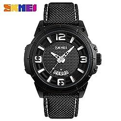 SKMei Watch Men Sport Wristwatches Quartz Analog Waterproof Clock Hour Auto Date - 9170 - White