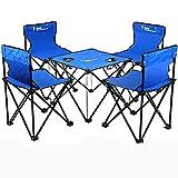 KOKR Gartenmöbel Campinggarnitur Tisch- und Stuhlset, Klapptisch (46X46x38cm) + 4 X Campingstühle,Tisch- und Stuhlset - Picknick Strand Tisch und Stuhl Tragbar