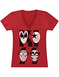Fea Kiss Band Juniors T-Shirt Cartoon Mask Logo Faces -Large