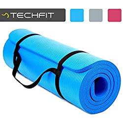 TechFit Espesor extra de 15 mm, 180x60 cm, ideal para ejercicios en el suelo (azul)