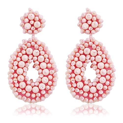hrringe Handgefertigt Perlen Böhmische Strandmode Baumeln Ohrringe Geschenke Für Frauen Rosa 02 ()