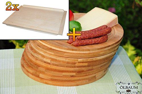 Picknickset, Picknickbretter - Bruschetta-Schneidebrett 2 Stück aus Buche - SPÜLMASCHINENFEST '*' - massive, hochwertige ca. 16 mm starke Schnitzelklopfbretter natur, Maße viereckig je ca. 38 cm x 51 cm & 8 Stück Schneidebrett - massive, hochwertige ca. 12 mm starke Picknick-Grill-Holzbretter mit Rillung natur, dunkles Bambus, Maße rund je ca. 25 cm Durchmesser als Bruschetta-Servierbrett, Brotzeitbretter, Steakteller schinkenbrett rustikal