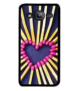 PrintVisa Designer Back Case Cover for Samsung Galaxy J2 J200G (2015) :: Samsung Galaxy J2 Duos (2015) :: Samsung Galaxy J2 J200F J200Y J200H J200Gu (Heart can catch fire purple yellow pink)