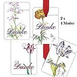 8 schönes Dankes Geschenkanhänger, Anhänger, Geschenkkarten Papieranhänger Hänge Etiketten Tags Format 10 x 6,9cm mitLilliput Blumen: Danke, passen zu Geschenkpapier: 00000_1_G7281