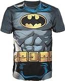 DC Comics Batman Muscle Déguisement pour Adulte avec Logo T-Shirt Tee-Charbon de Bois - Multicolore - Large