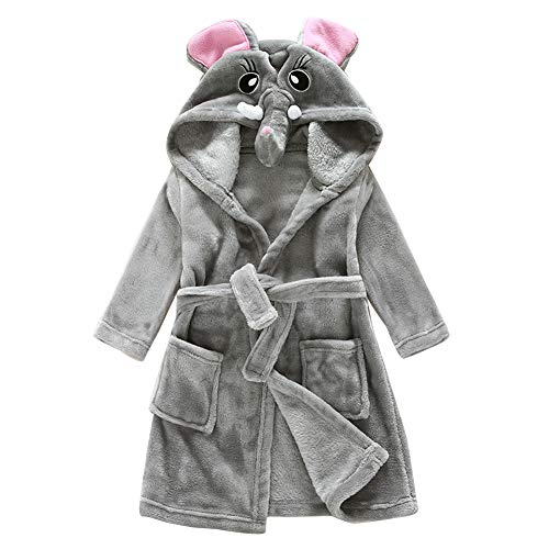 Kinder Robe Bademantel Tier Kapuzen Handtuch Nachtwäsche Cosplay Kostüme Pyjamas Elefant 110