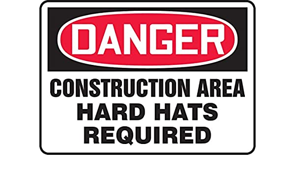 Accuform MCRT136VP Plastic Sign LegendDanger Construction Area Hard Hats Required 10 Length x 14 Width x 0.055 Thickness Red//Black on White