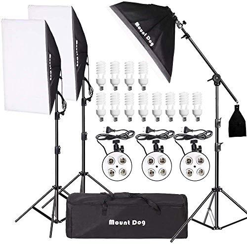MOUNTDOG Softbox Fotostudio Studiolicht Fotoausrüstung Studioleuchte mit 50 x 70 cm 3*Softbox Set 12 * 45W E27 5500K Glühlampen, Kamera Fotostudio 4 Sockel Scheinwerfer Porträt Foto Shooting Porträts