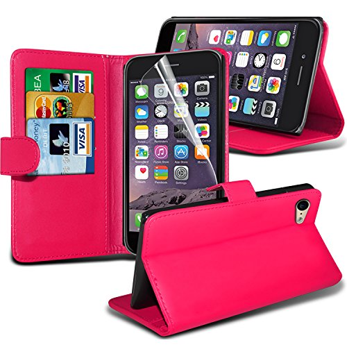 Apple Iphone 6 4.7 inch White Protective BookStyle PU Portefeuille en cuir flip Avec 3 Crédit couverture de peau Slot Case / carte de débit Avec écran LCD Protecteur, Chiffon & Mini Stylet rétractable Hot Pink