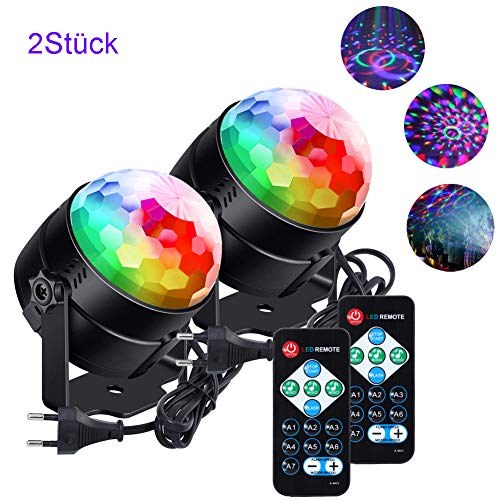 licht klein Kinder lunsy 6 Farbe RGB LED Musikgesteuert Party Lampe Disco Lichteffekte Discolicht 360° Drehbares Partylicht mit Fernbedienung,für Weihnachten/Party und mehr ()