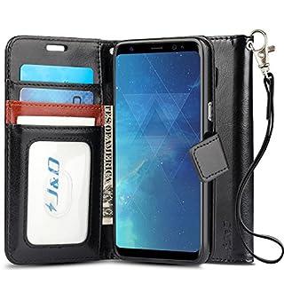 J & D Galaxy S8 Hülle, [Handytasche mit Standfuß] [Slim Fit] Robust Stoßfest Aufklappbar Tasche Hülle für Samsung Galaxy S8 - Schwarz