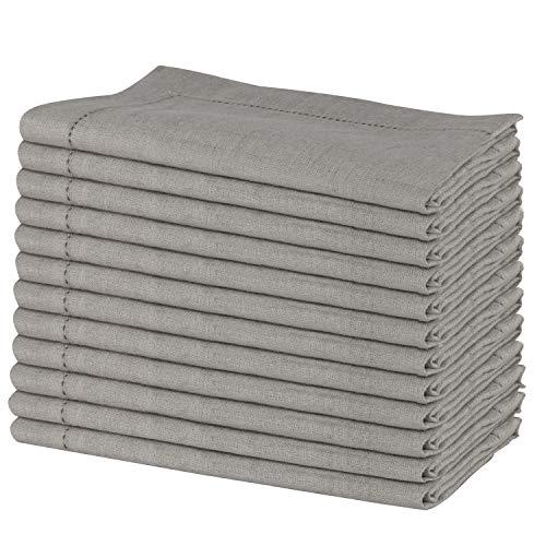 SweetNeedle - Pack von 12 - 100% reines Leinen handgefertigte Leiter Spitze gestickten Servietten 50 cm x 50 cm (20 Zoll x 20 Zoll) in natürlicher Farbe -