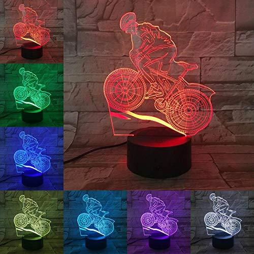 sanzangtang LED Nachtlicht 3D-Vision-Sieben Farben-Fernbedienung-Mountainbike Rennrad Licht Nachtlicht Lava Beleuchtung MännerMondlicht Nachtlicht