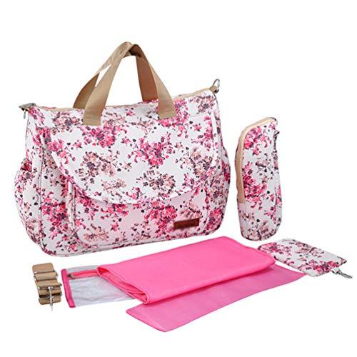 Haobing Set 5 Kits Bolsa de Mama para Bebé Bolso Cambiador de Pañales Bolsa de Maternidad de Viaje para el Hospital (Rojo, 37x33x13cm)