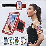 Brassard Sport pour Samsung Galaxy S6/S6 edge/S7 (Pas inclus Samsung S7 Edge), SAVFY Brassard Smartphone pour Course Jogging Vélo Pêche Sangle Réglable Rouge