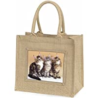 Cute Maine Coon Kittens Large Natural Jute Shopping Bag Christmas Gift Idea