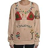 TEBAISE Weihnachten Kapuzenpulli Damen 3D Druck Pullover Sweatjacke Cartoon Hoodie Weihnachten Langarm Slim Fit Sweatshirt mit Taschen Unisex