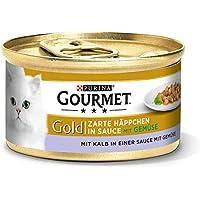 Purina GOURMET Gold Zarte Häppchen in Sauce, Katzennassfutter, für anspruchsvolle Katzen, Tiernahrung / Nassfutter, Dose ,12er pack (12 x 85 g)