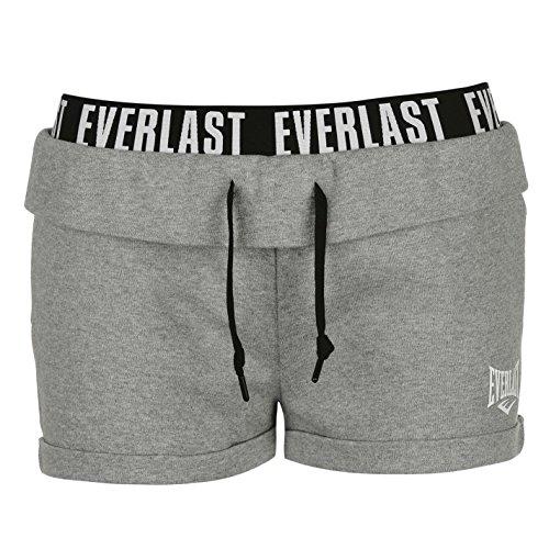 Everlast Damen Logo Shorts Jersey Kurze Hose Kordelzug Tasche Baumwolle Grau Meliert 10 (S) (Everlast Baumwoll-shorts)