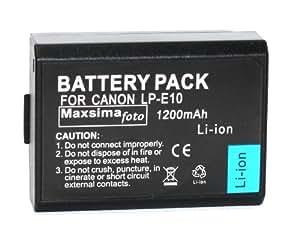 Maxsima - Batterie LP-E10, 1200mAh pour Canon EOS 1100D, Rebel T3, Kiss X50