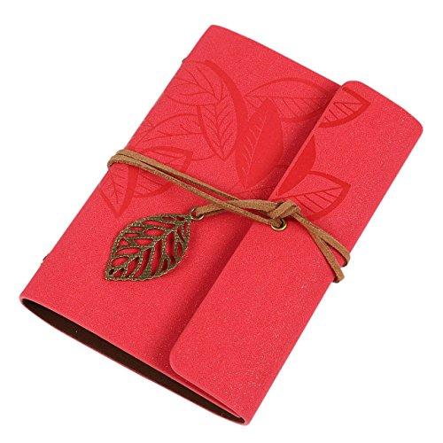 Gespout Cuaderno Notas Papelería Libreta Papel Cuero Blanco Cuadernos Decoración de Caja de Regalo de Cumpleaños Saludos lenguaje Tarjeta Cuadernos de Bohemia Estilo Hojas 14.5*10.5CM (Rojo)