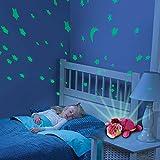 HSP Himoto 2in1 Nachtlicht und Sternenhimmel Projektor für Baby Kinderzimmer, 3 mögliche LED Farblichter (blau, rot und grün) einstellbar, Auto-Off Funktion und viele weitere Funktionen
