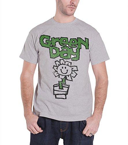 Verde Day T Shirt Vintage Flower Pot Kerplunk band logo de los hombres Gris