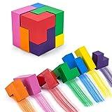 WOCLHJ Wachsmalstifte Wasserfest Kreative Magic Cube Förmigen Wachsmalstifte Intelligenz Spielzeug Bausteine für Kleinkinder 7 Farben