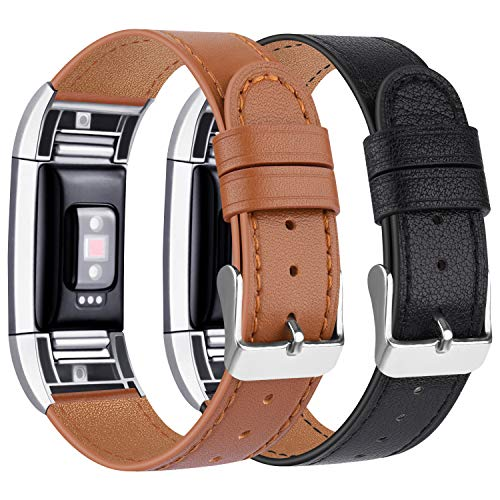 """Tobfit Kompatibel für Fitbit Charge 2 Armband, Klassische Echtleder-Armband-Metallverbinder für Fitbit Charge 2 (Kein Uhr) (05 Schwarz/Braun, 5.5\"""" - 8.1\"""")"""