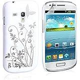 Yousave Accessories Floral Hard Back Cover Case für Samsung Galaxy S3Mini-weiß/silber