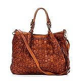 Ira del Valle, Damenhandtasche aus geflochtenem Vintage-Leder, Made in Italy, Modell Caraibica Tasche, große Handtasche und Schulter mit Schultertasche für Mädchen, Cognac Farbe