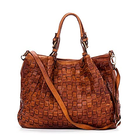 Ira del Valle, Sac à main femme, Vrai cuir, Vintage, Model Caraibica, Made in Italy (Cognac)