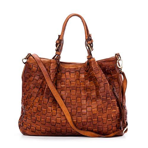 Ira del Valle, Damen Handtasche, Echtes Leder, Vintage, Umhängetasche Frau Modell Caraibica Tasche, Made In Italy (Cognac) (Furla Kroko)