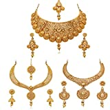 #8: Apara Gold Plated Bridal Necklace Combo Set with Maang Tikka for Women