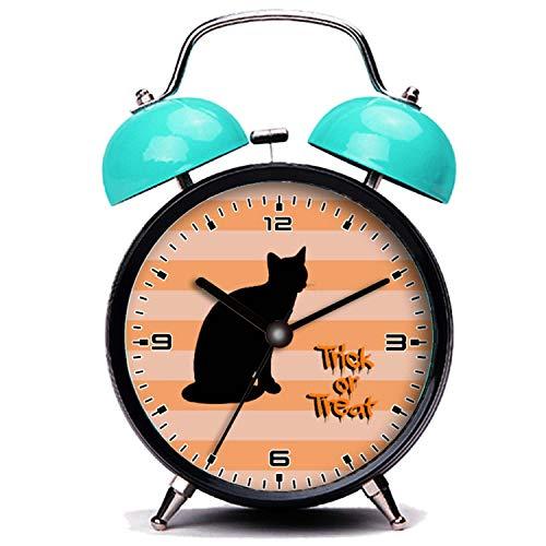 girlsight Blauer Wecker, Nette Katze Halloween, Katze, Trick oder Behandeln - Orange Schwarz Twin Bell Wecker mit Nachtlicht (Trick Oder Behandeln Halloween-nacht)